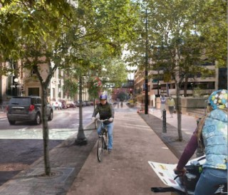 The plan for a downtown St. Paul bike loop, shown here in a rendering, would get an $8 million boost from the mayor's 8-80 plan. Image: Streets.mn
