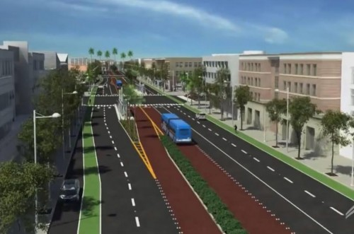 Rendering of the El Camino Real bus rapid transit proposal. Image via Cyclelicious