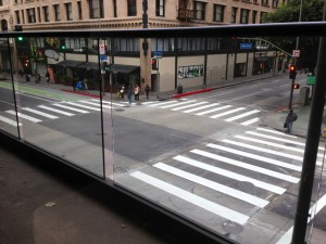"""In Los Angeles, these """"continental,"""" or zebra-striped crosswalks have made pedestrian crossings much more visible. Photo: Car Free Dallas"""