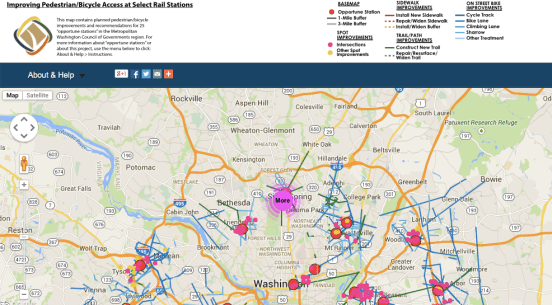 This still shop from an interactive map shows planned interventions that can help make DC's transit system more walkable and bikeable. Image: Washington Metropolitan Council of Governments