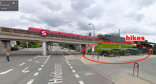 Bike parking at the Friheden Street transit stop in suburban Copenhagen. Image: Google via Greater Greater Washington