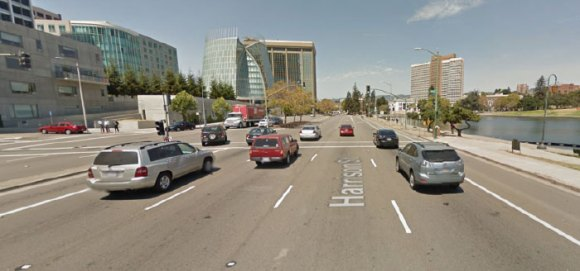 "Harrison Street in downtown Oakland is a barrier for pedestrians. Unfortunately, even after a ""Green Streets"" makeover, it will mostly stay that way, says Ralph Jacobson. Photo: Google Streetview via GJEL Accident Attorneys"