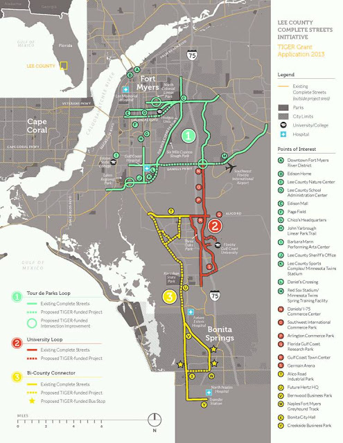 TIGER funding provided $10.5 million to build a network of biking and walking facilities in Lee County, Florida, one of the most dangerous areas for walking and biking. Image: Lee County MPO via Bike Walk Lee