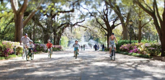 Savannah is considering outlawing bicycling in one of its famous parks. Photo: Savannah Bicycle Campaign