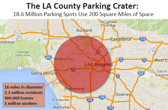 Here's how much space it would take up if all of L.A. County's parking spaces where pushed together. Map by Shane Phillips, Better Institutions
