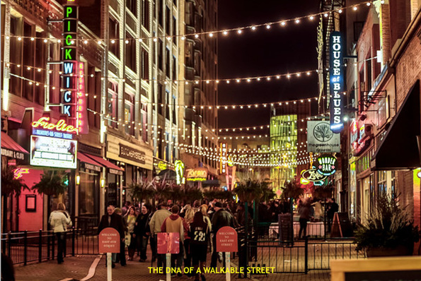 "East Fourth Street in Cleveland, the city's premier downtown entertainment district, would be ""illegal"" under the current zoning code without a host of variances. Image: City of Cleveland via Green City Blue Lake"