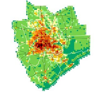 The city of Houston is capturing a much greater share of new residents, compared to the suburbs, than in past decades. Map: Houston Tomorrow