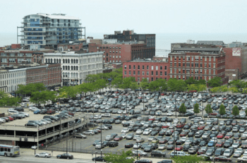 Surface parking by Greater Cleveland RTA's downtown rail hub. Photo: GCBL