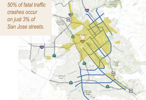 """This map shows the streets where 50 percent of fatal traffic crashes occur in San Jose. But in yellow, we see there's a strong overlap with """"disadvantaged"""" areas, where immigrants, low-income people and people of color are concentrated. Map via Cyclelicious"""