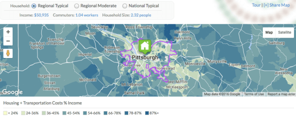In Pittsburgh, combined housing and transportation costs are still lower in urban areas. Map: Center for Neighborhood Technology