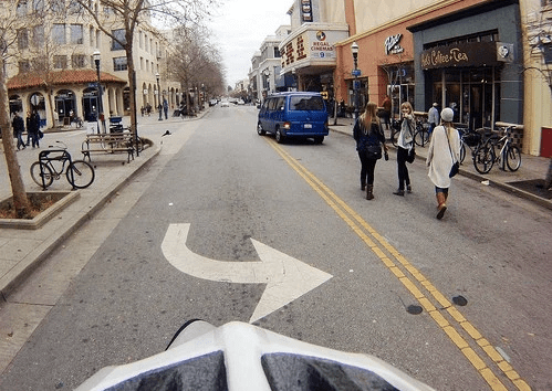 Pacific Avenue in downtown Santa Cruz wasn't design to be a shared space where pedestrians have priority, but Richard Masoner says that's how it functions on weekends. Photo: Cyclelicious