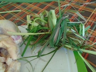 Lemongrass bunched up to put inside the chickens body cavity