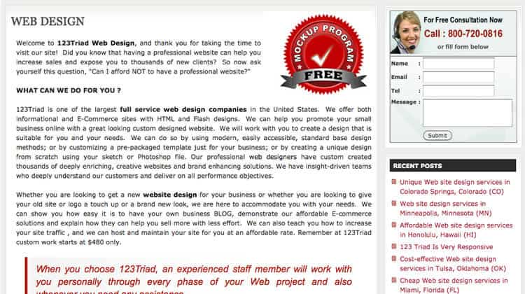 web design mistakes - too many words