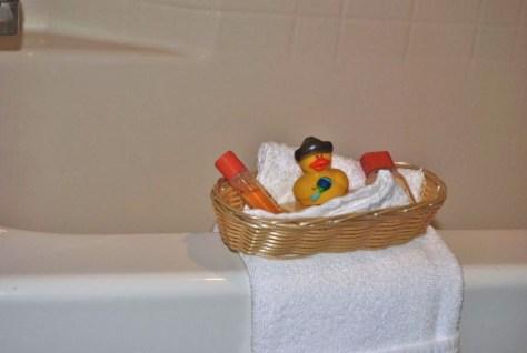Eine besondere Aufmerksamkeit unseres heutigen Hotels: Eine kleine Quietscheente. :-)