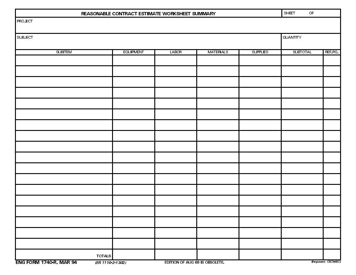 Reasonable Contract Estimate Worksheet Summary