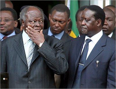 Kenya leaders President Kibaki-n-Prime Minister Raila Odinga