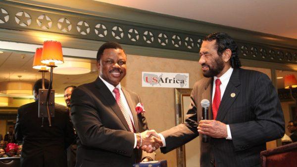U.S Congressman Green congratulates Anambra Gov-elect Obiano at USAfrica interactive forum in Houston with Anambra diaspora