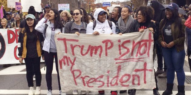 """Not my President"" chants at anti-Trump protests across major cities in U.S"