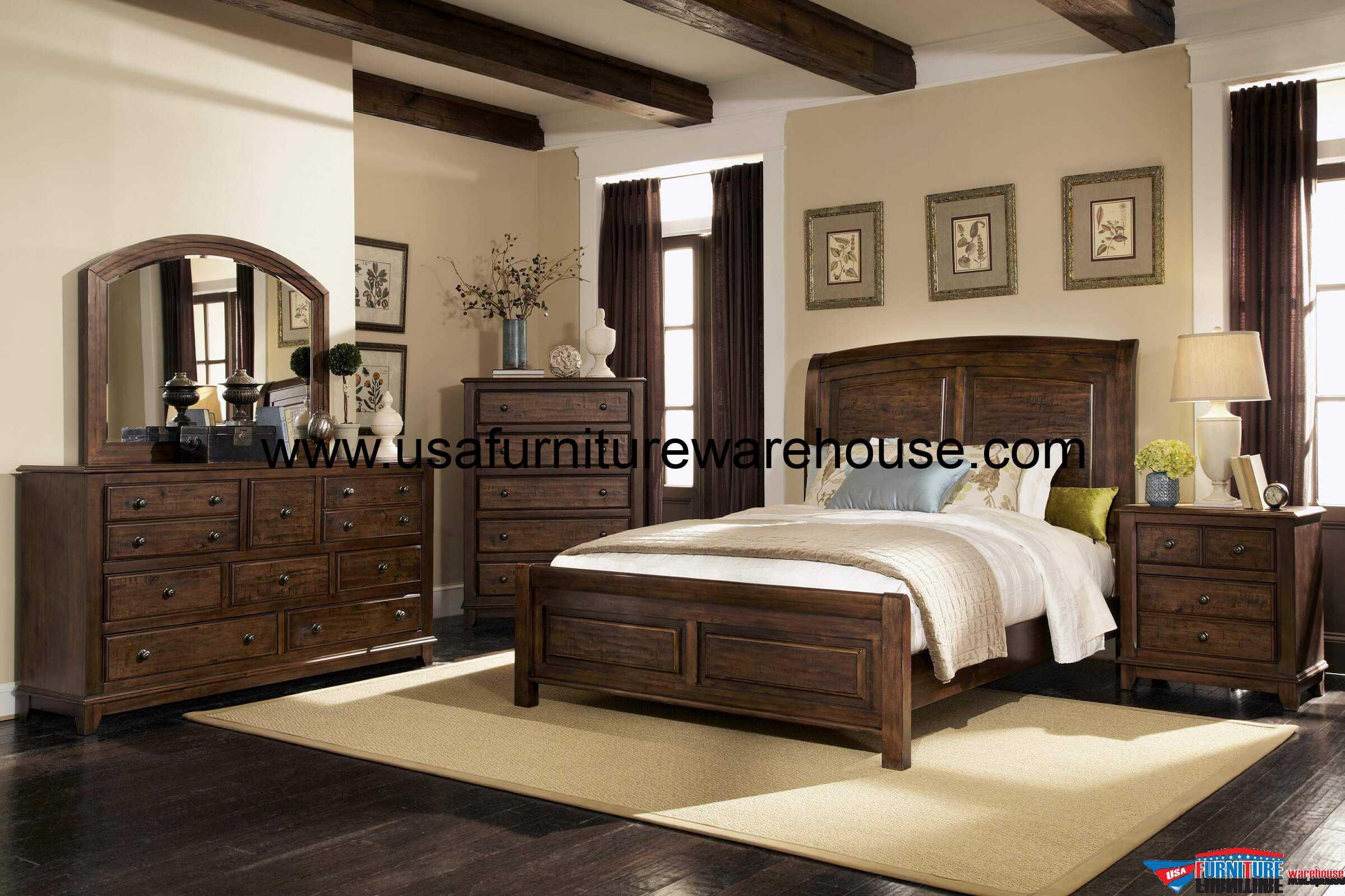 Coaster Furniture 4-Pc Laughton Panel Distress Bedroom Set