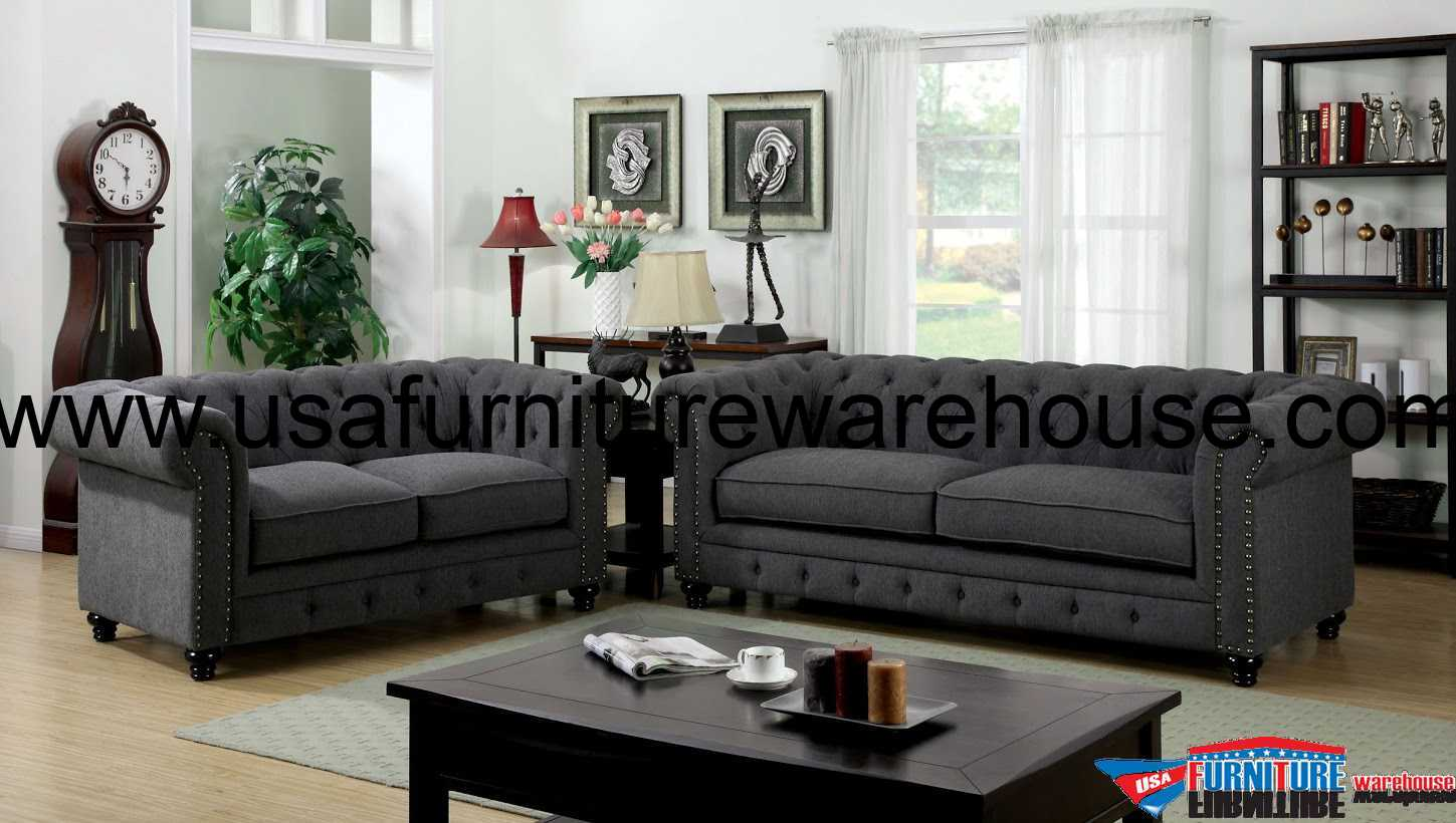 3 Piece Stanford Gray Fabric Sofa Set FOA-6269SF