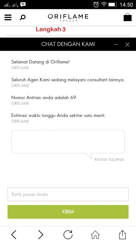 kontak cc via chat box