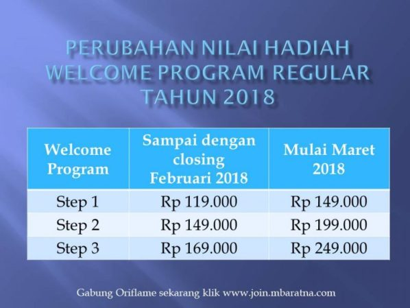 welcome program regular oriflame