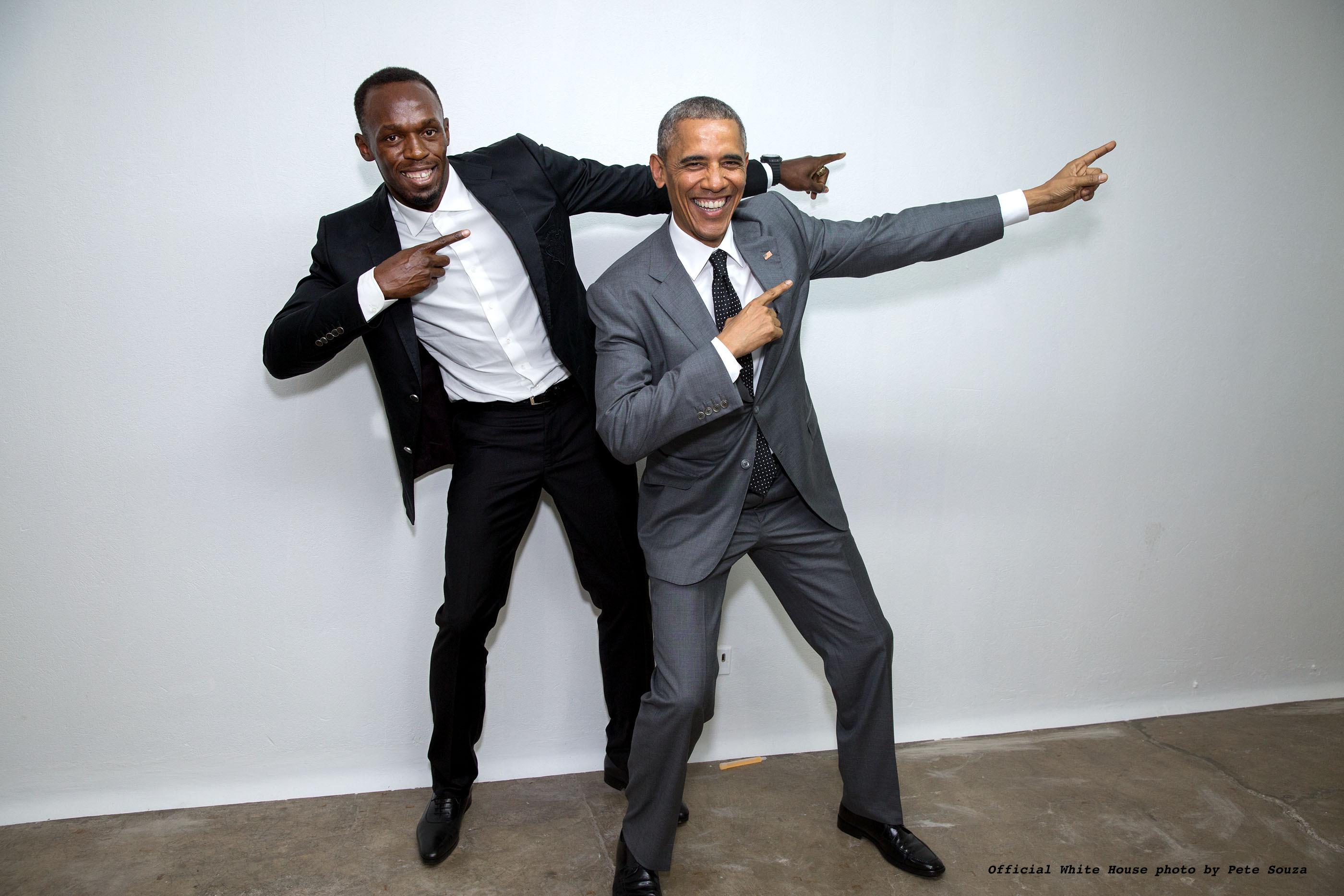 POTUS strikes a pose with Usain Bolt. April, 2015.