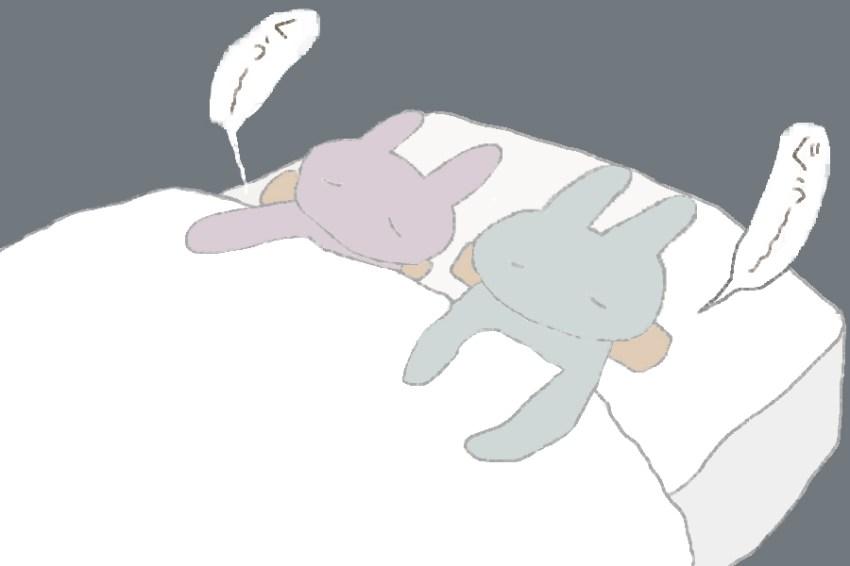 2コマ目。 うさことうさお君が仲良く眠っています。
