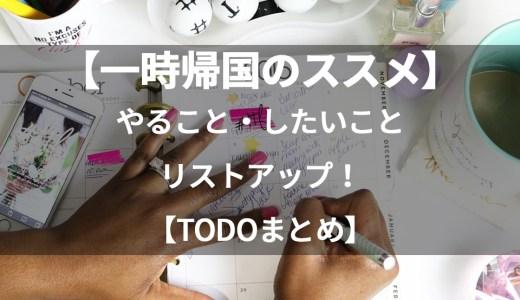 【一時帰国のススメ】日本滞在中にやるべきこと、したいことリストアップ【まとめ】