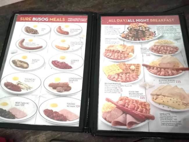 プエルトガレラの大衆食堂のメニュー