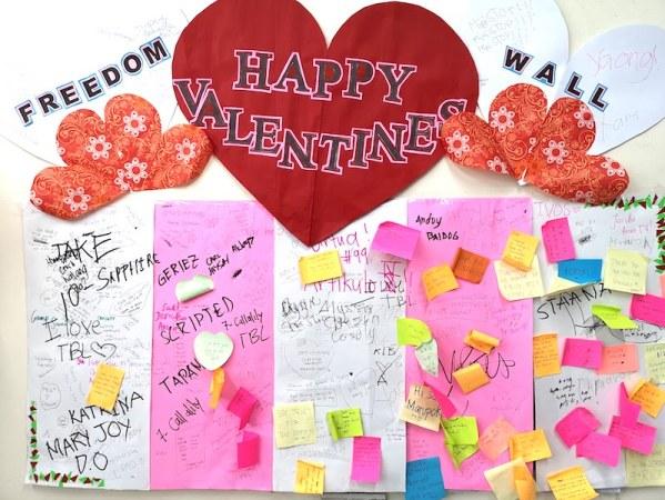フィリピンのバレンタインデーのメッセージボード