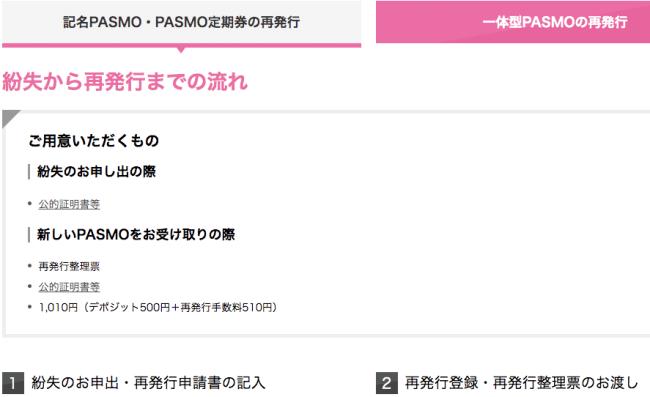 PASMOの再発行