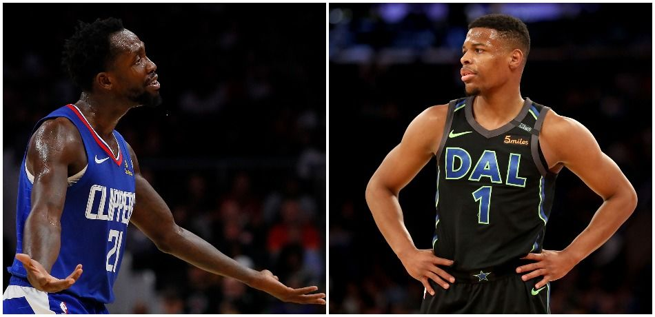 Photo of Patrick Beverley arguing with his arms spread out, joined with photo of Dennis Smith Jr. with his hands on his hips.