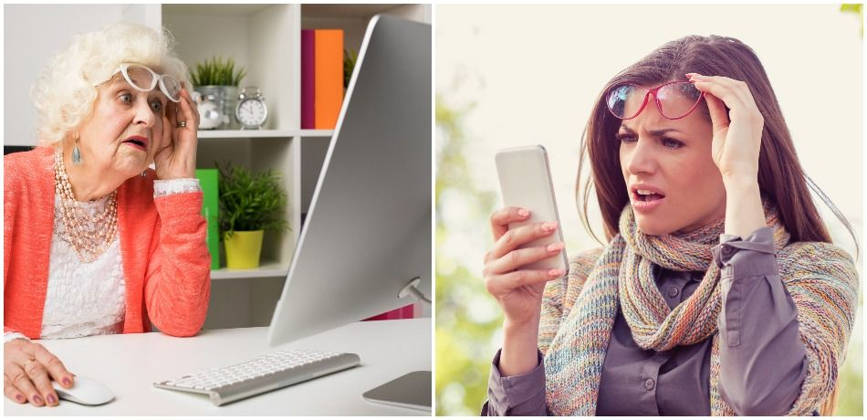 Left, an elderly woman looks at a computer screen with her hand on a computer mouse; right, a younger woman looks at her phone in a confused way.