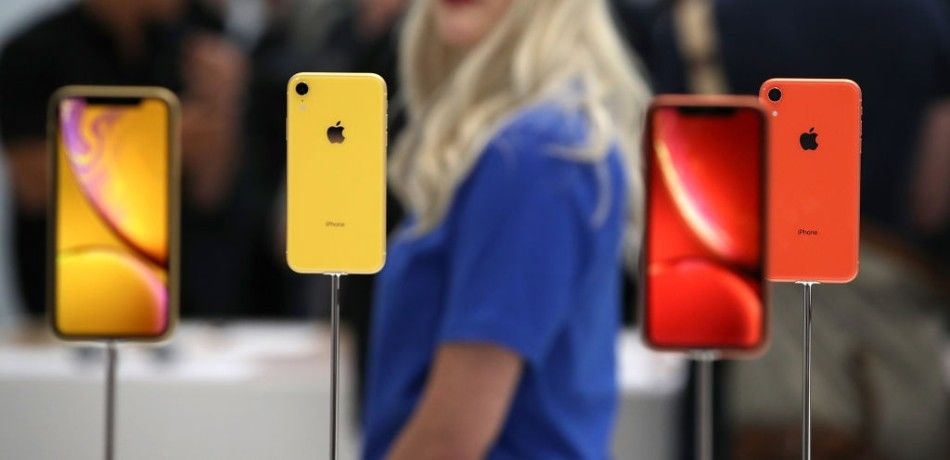 Apple's iPhone XR on display during the device's September 12, 2018, launch.