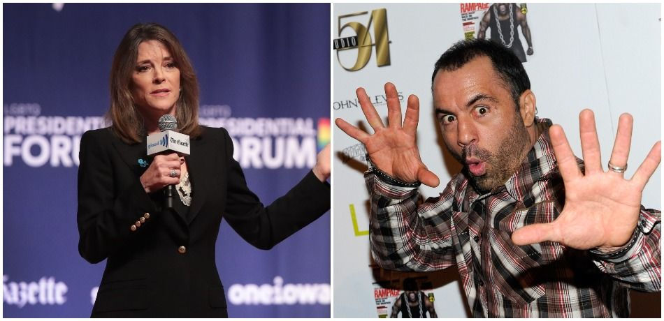 Democratic presidential candidate Marianne Williamson and comedian Joe Rogan.