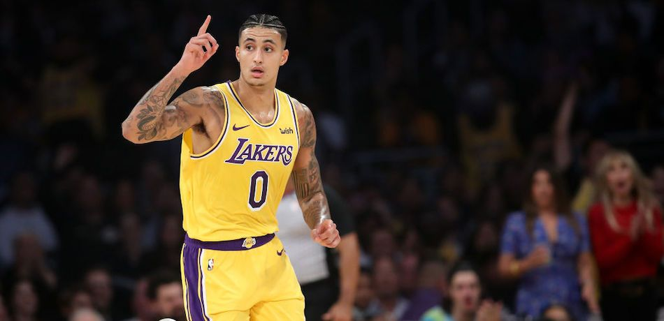 Kyle Kuzma of the Los Angeles Lakers celebrates after scoring against the Oklahoma City Thunder.