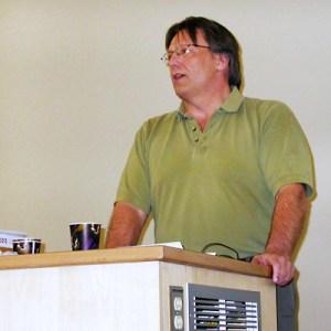 Jim Cheesman speaks at the USFA Academic Freedom event.