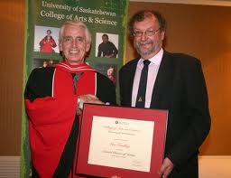 Professor Findlay (right) receiving an honorary D.Litt, from Dean Peter Stoicheff at Spring Convocation 2011.