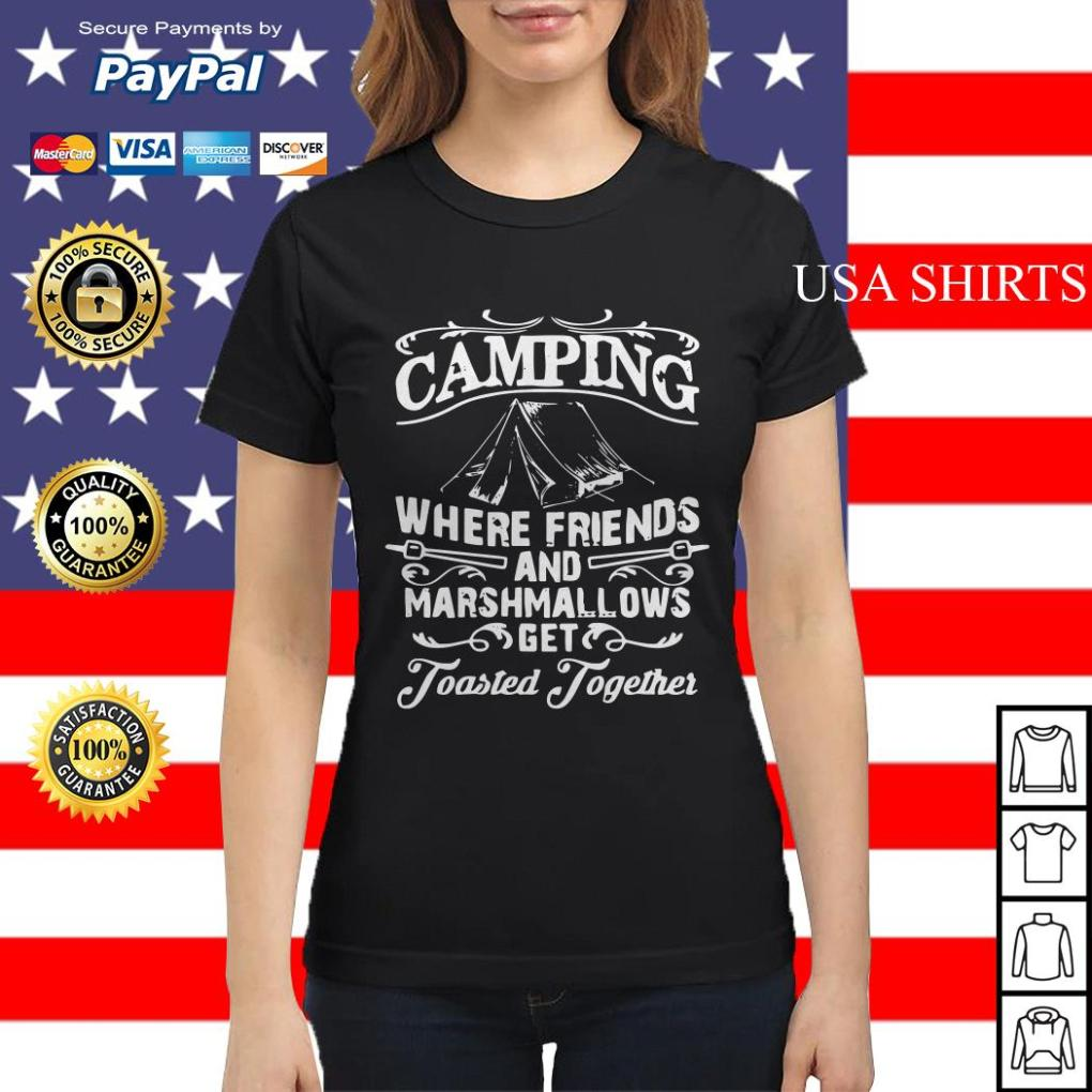 Camping where friends and marshmallows get Toasted Together Ladies tee