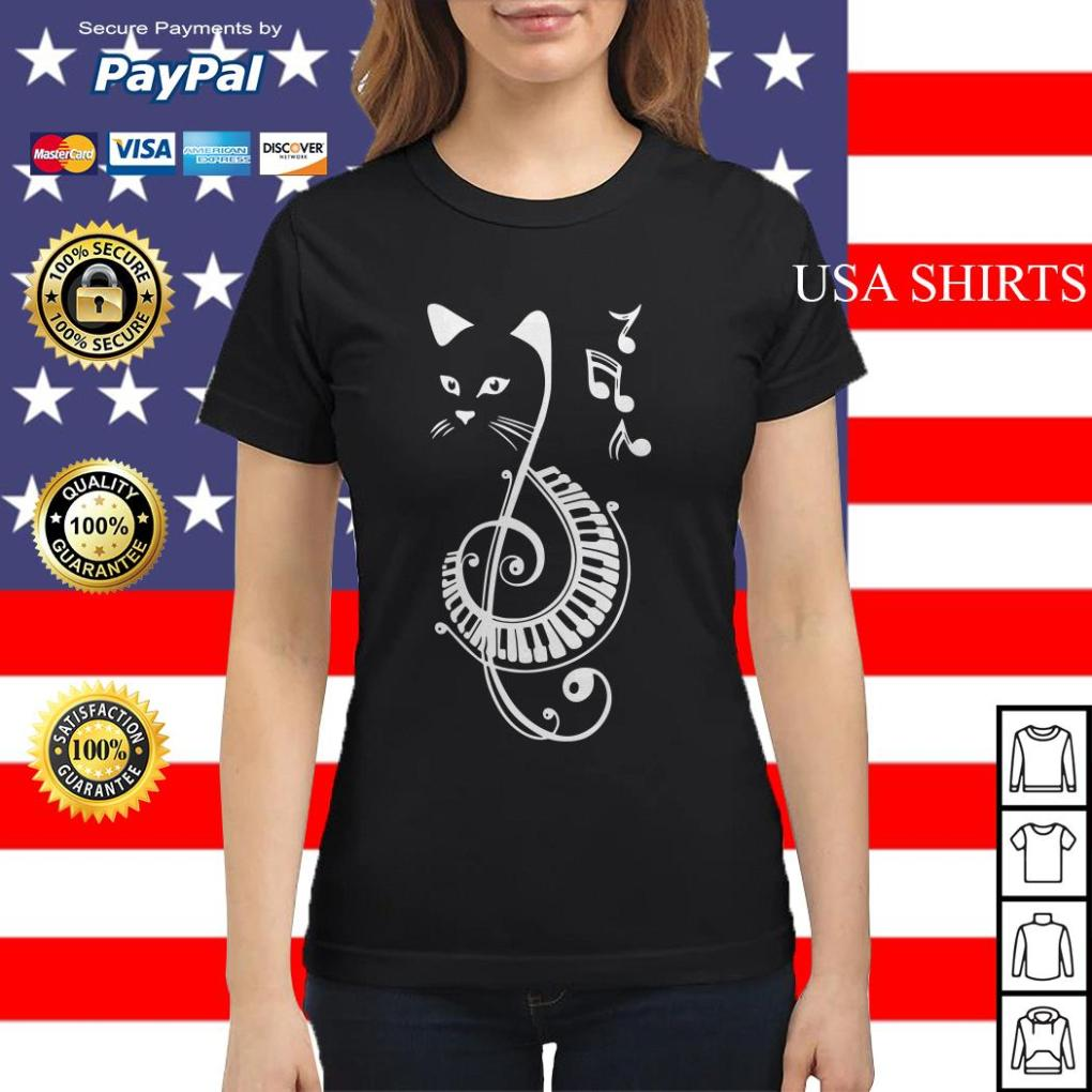 Musical Notes Cat Ladies tee