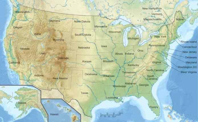 Stati Uniti Cartina Fisica E Politica.Mappa Fisica Stati Uniti D America