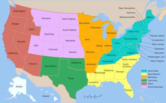 Cartina Fisico Politica Usa.Mappa Stati Uniti Cartina Fisica E Politica Degli Usa