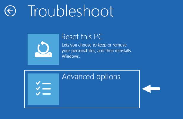 Windows Troubleshoot Advanced Options