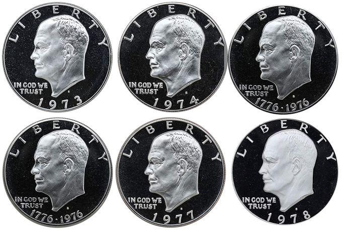 1973-1978 Eisenhower Dollar Proof Coins