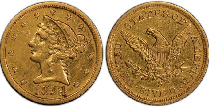 1854-S Half Eagle PCGS XF45