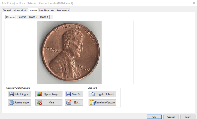 Coin Images Tab