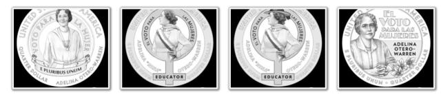 2022 Adelina Otero-Warren American Women Quarter Series Design Candidates (Images Courtesy of CCAC)