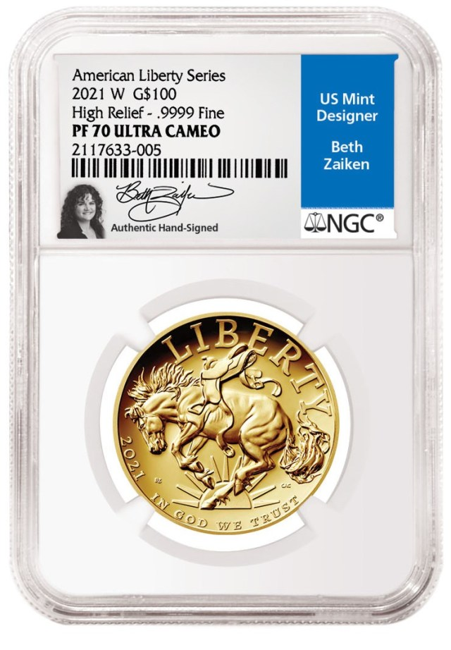 Beth Zaiken Signature Lable for 2021-W American Liberty Gold Coin (Image Courtesy of NGC)