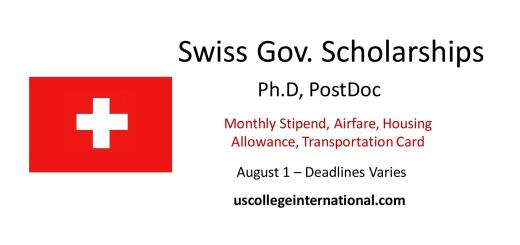 swiss government scholarships
